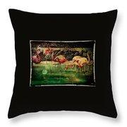 Pink Flamingos - Shangri-la Throw Pillow