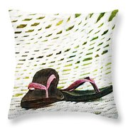 Pink Flip Flops On Backyard Rope Hammock Vintage Scratched Style Throw Pillow