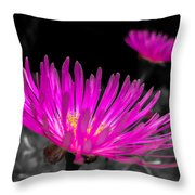 Pink Flower In A Green Grass - Splash Throw Pillow