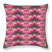 Pink Flower Petal Based Crystal Beads In Sync Wave Pattern Throw Pillow