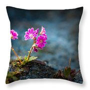 Pink Flower With Inkbrush Calligraphy Joyfulness Throw Pillow