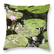 One Pink Water Lily With Lily Pads Throw Pillow