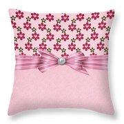 Pink Flowered Hearts  Throw Pillow