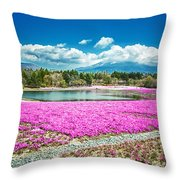 Pink Flowers Blue Sky Throw Pillow