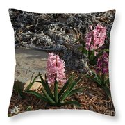Pink Flower's With A Lime Stone Rock Throw Pillow