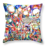 Pink Floyd Live Concert Watercolor Painting.1 Throw Pillow