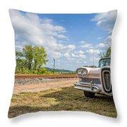 Pink Ford Edsel  Throw Pillow