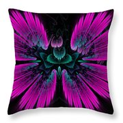 Pink Fractal Flower Explosion Throw Pillow