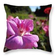 Pink Geranium Throw Pillow