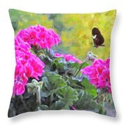 Pink Geraniums And Butterfly Throw Pillow