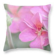 Pink Geraniums Throw Pillow