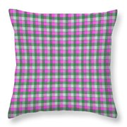 Pink Green And White Plaid Pattern Cloth Background Throw Pillow