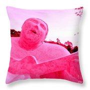 Pink Guitarist Throw Pillow