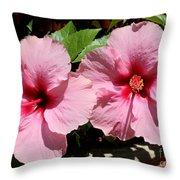 Pink Hibiscus Blooms Throw Pillow