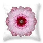 Pink Hibiscus I Flower Mandala White Throw Pillow