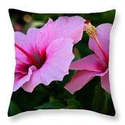 Pink Hibiscus II Throw Pillow