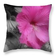 Pink Hibiscus In Partial Color Throw Pillow
