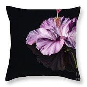 Pink Hibiscus On Black Water Throw Pillow