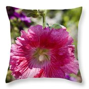 Pink Hollyhock Throw Pillow