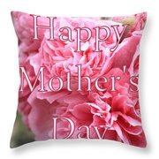 Pink Hollyhock Mother's Day Card Throw Pillow
