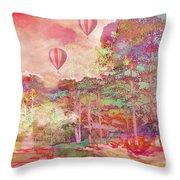Pink Hot Air Balloons Abstract Nature Pastels - Dreamy Pastel Balloons Throw Pillow