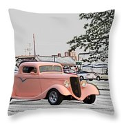 Pink Hot Rod Cruising Woodward Avenue Dream Cruise Selective Coloring Throw Pillow