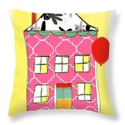 Pink House Throw Pillow by Linda Woods