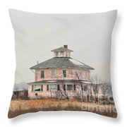Pink House On The Marsh Throw Pillow