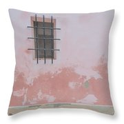 Pink House With Black Iron Throw Pillow
