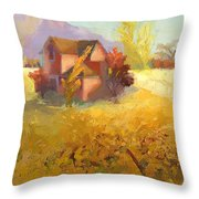 Pink House Yellow Field Throw Pillow