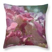 Pink Hydrangea Photoart I Throw Pillow