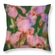 Pink Iris Family Throw Pillow