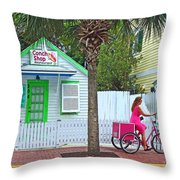 Pink Lady And The Conch Shop  Throw Pillow by Rebecca Korpita