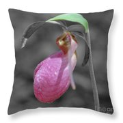 Pink Lady Slipper Partial Color Throw Pillow