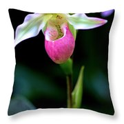 Pink Lady's Slipper Throw Pillow
