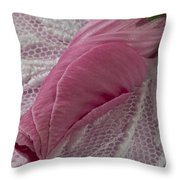 Pink Lavatera Bud Macro Throw Pillow