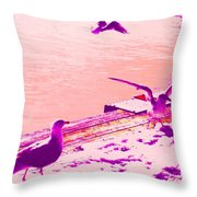 When Seagulls Are Living The Pink Life  Throw Pillow