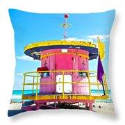 Pink Lifeguard Post Throw Pillow
