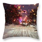 Pink Lights In Snowtrax Throw Pillow