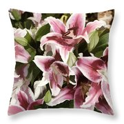 Pink Lilies I Throw Pillow