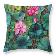 Pink Lillies Throw Pillow