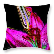 Pink Lily And Bud Pop Art Throw Pillow