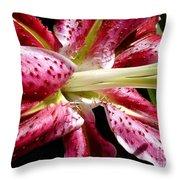 Pink Lily Macro Throw Pillow