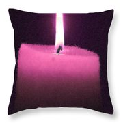 Pink Lit Candle Throw Pillow
