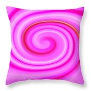 Pink Lollipop Swirl Throw Pillow