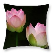 Pink Lotus Duet Throw Pillow