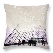 Pink Louvre Paris Throw Pillow