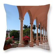 Pink Marble Colonnade Throw Pillow