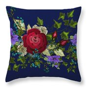 Pink Metallic Rose On Blue Throw Pillow