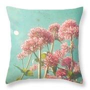 Pink Milkweed Throw Pillow